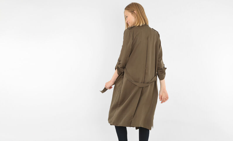 Trench long kaki