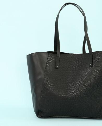 Grand sac cabas bi texture noir