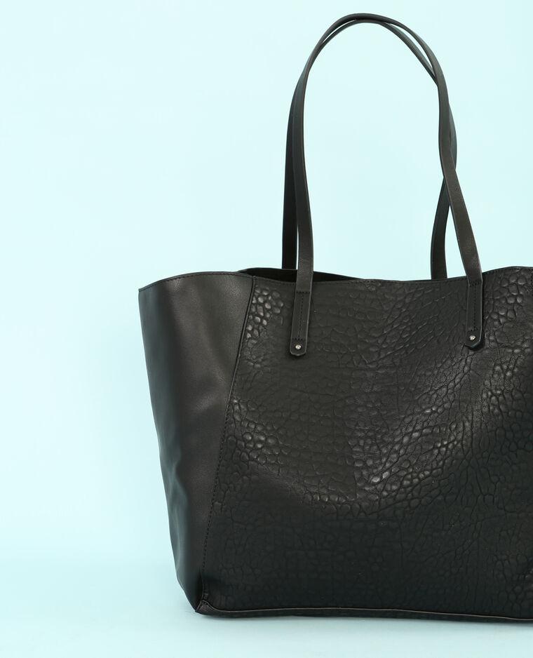 Grande borsa shopping doppio tessuto nero