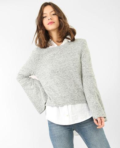 Pullover mit Pagoden-Ärmeln Grau