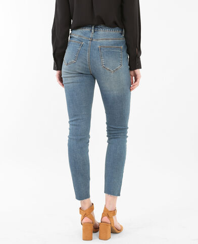 7/8-Skinny-Jeans mit hoher Taille und Raw Cut Ausgewaschenes Blau