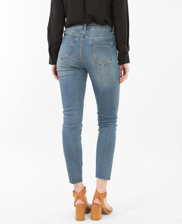 Jeans skinny 7/8 a vita alta raw cut blu delavato