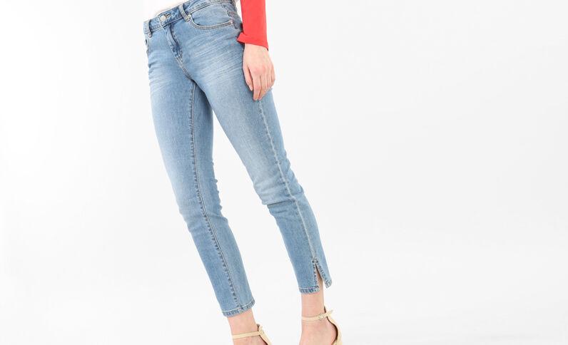 Jean skinny 7/8 fentes chevilles bleu denim