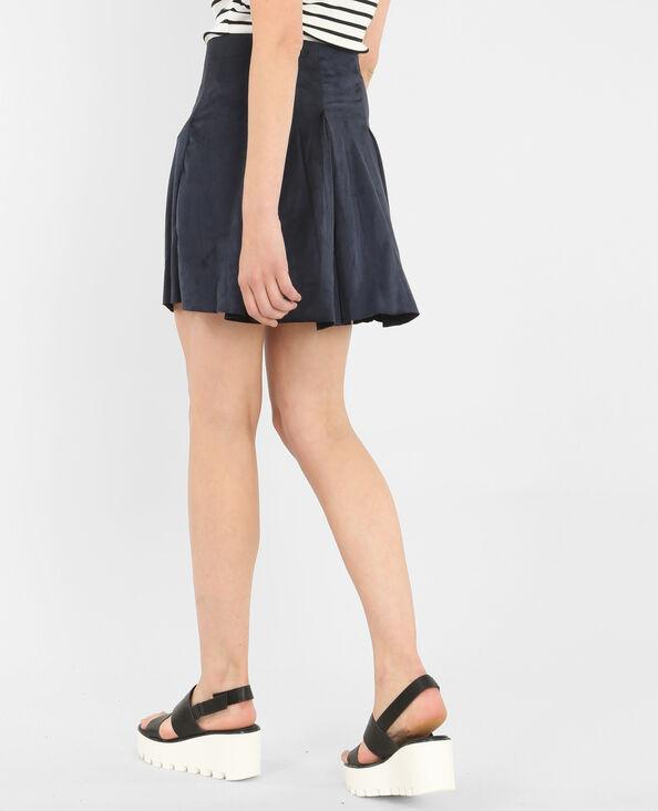 Falda de patinadora de antelina azul marino
