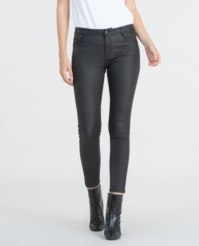 Beschichtete Skinny-Jeans Schwarz