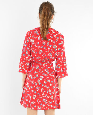 Wickelkleid mit Rüschen Rot