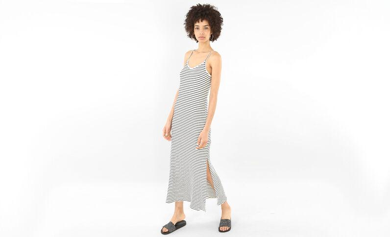Lange geribbelde jurk met streepjes gebroken wit
