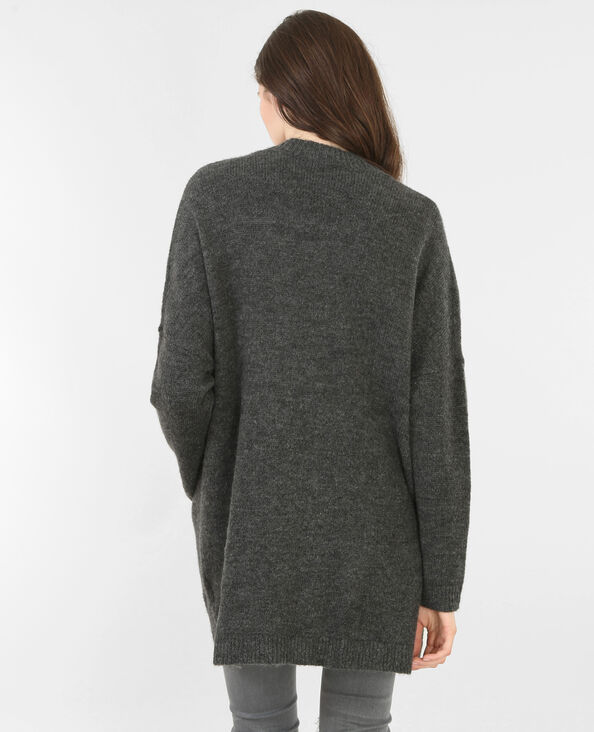 Lange Strickjacke Grau