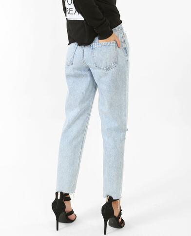 Destroyed Mom-Jeans ausgewaschenes Blau