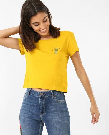 Cropped topje met print geel