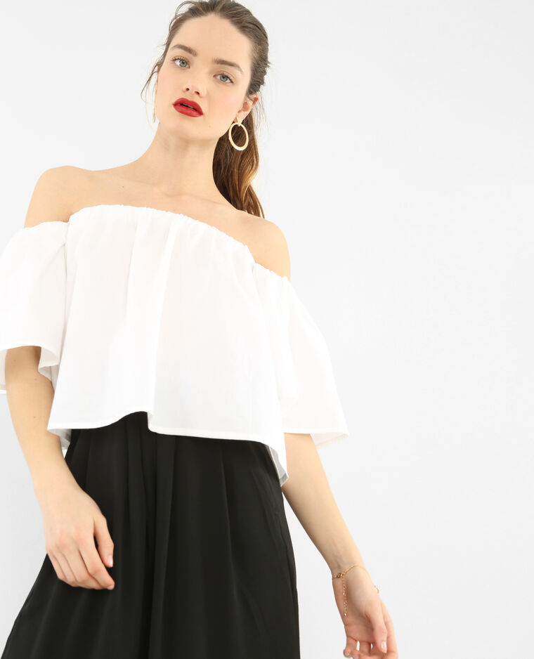 Cropped-Bluse Naturweiß