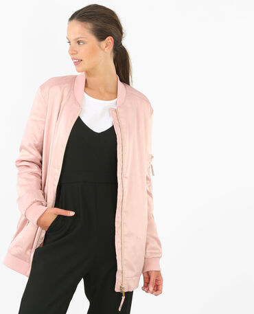 Bomber long satiné rose