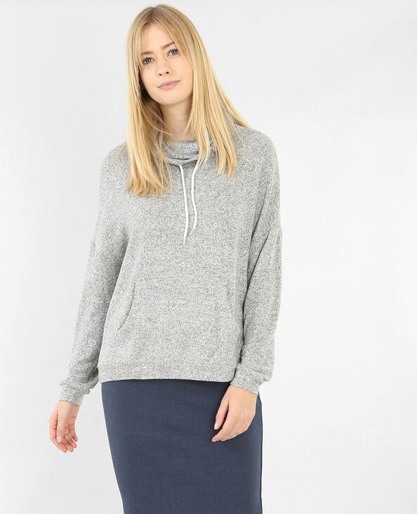 Sweatshirt mit Stehkragen Grau meliert