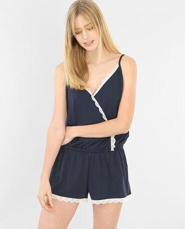 Salopette corta homewear in pizzo blu