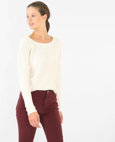 Pullover mit rundem Halsausschnitt Altweiß