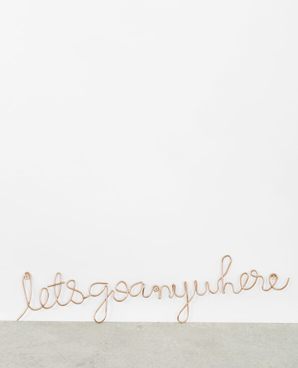"Mural decorativo ""Let's go anywhere"" dorado"