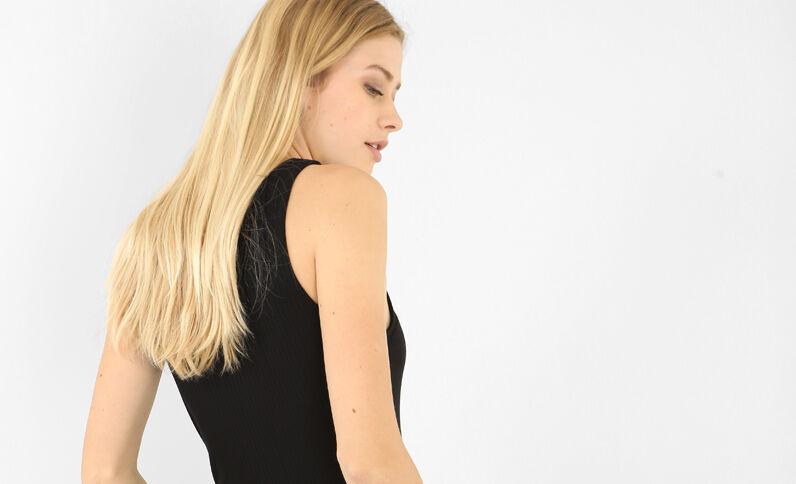 Body met gekruiste veters vooraan zwart