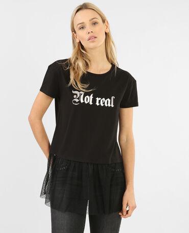 T-shirt bord tulle noir