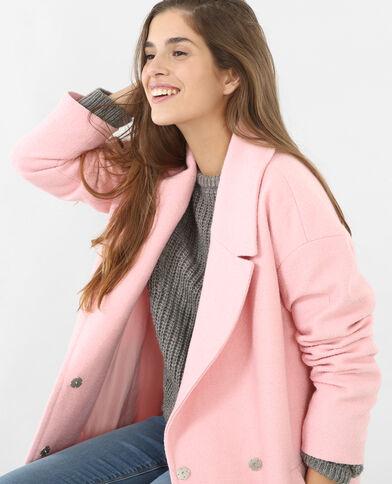 Manteau laine oversize rose