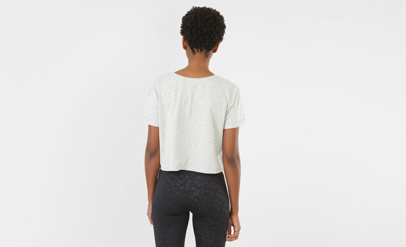 T-shirt cropped message gris chiné