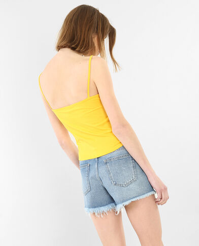 Cropped top côtelé jaune