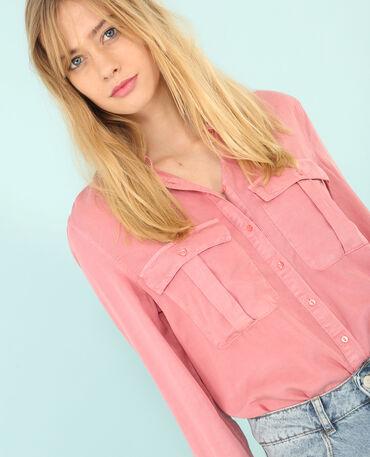 Camicia tencel con tasche rosa cipria