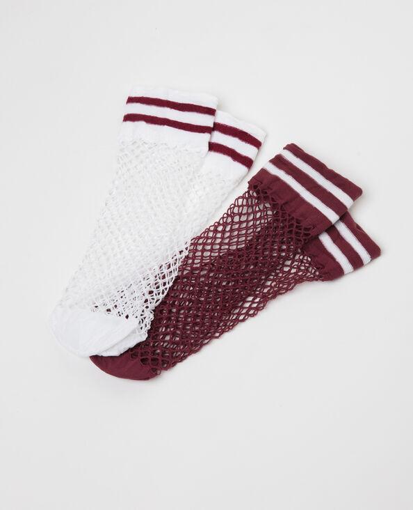 Set van 2 paar sokken van nettricot pruim