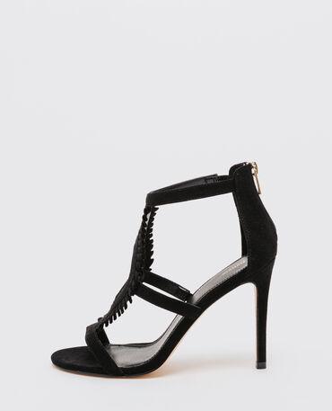 Sandalias de caña alta con volantes negro