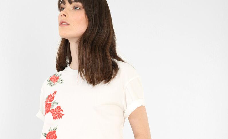 T-shirt broderie fleurie blanc