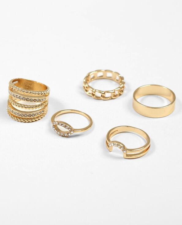 Set van 2 ringen goudkleurig