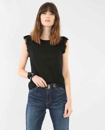 T-shirt volant tulle noir
