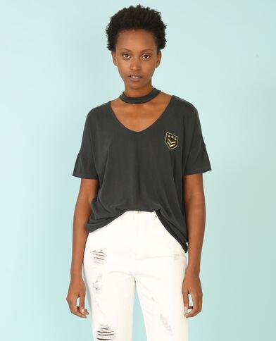 T-shirt col choker noir