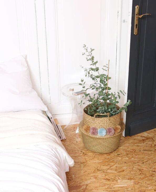 Korb aus Stroh mit Bommeln Beige