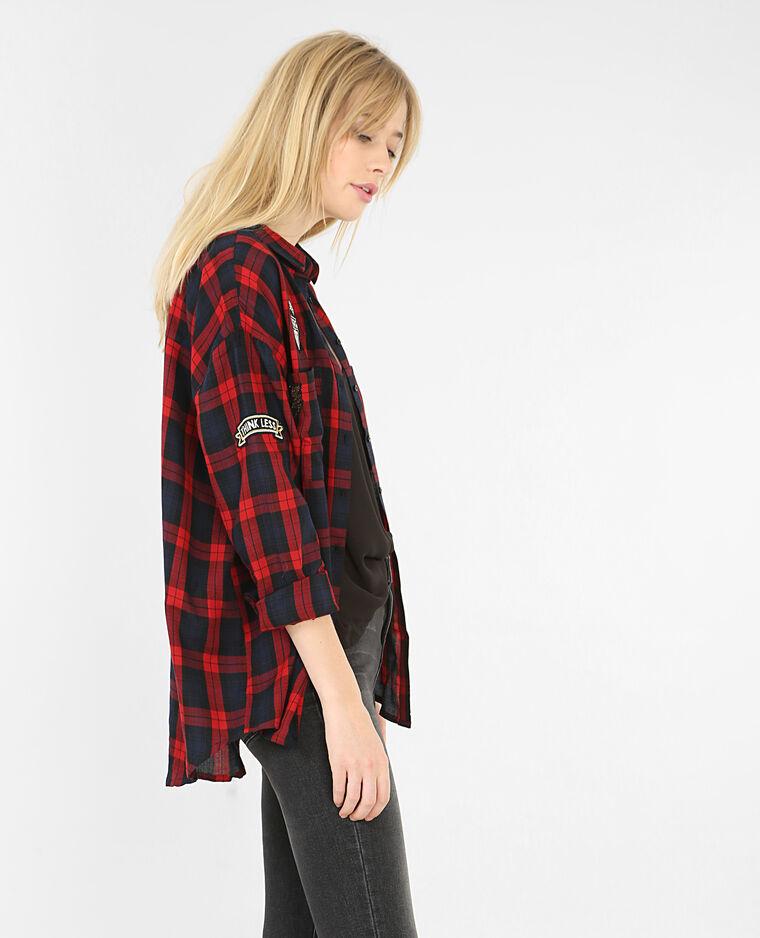 kariertes hemd mit patches rot 561330338b06 pimkie. Black Bedroom Furniture Sets. Home Design Ideas