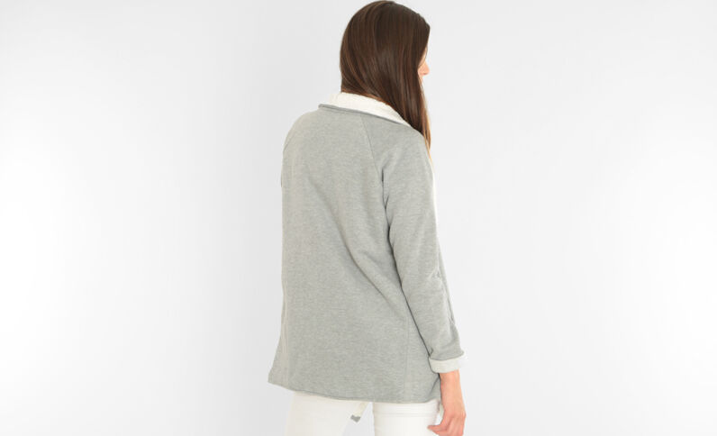 Gilet sweat sherpa gris chiné