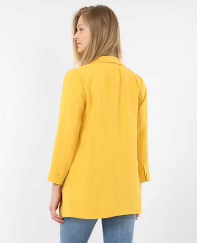 Blazer en crêpe jaune moutarde