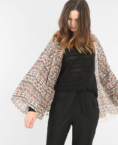 Veste kimono imprimée écru