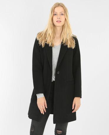 Manteau droit noir noir
