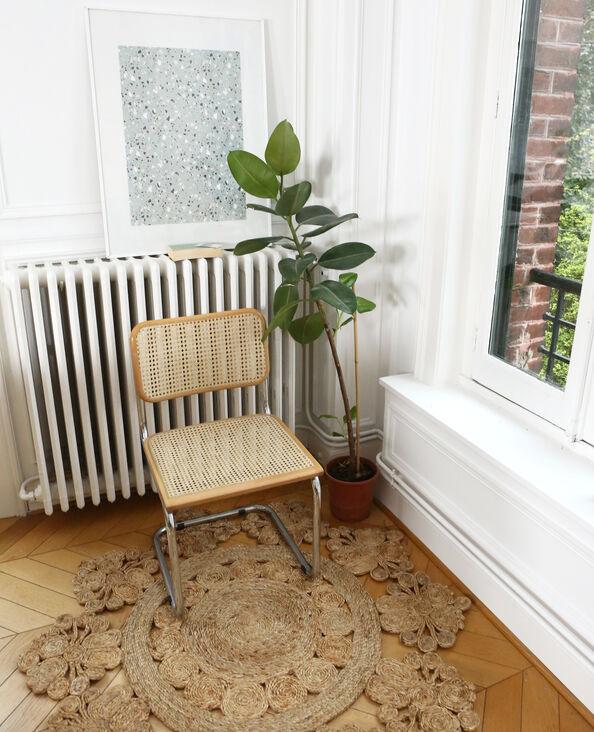 Zonvormig tapijt van jute taupebeige