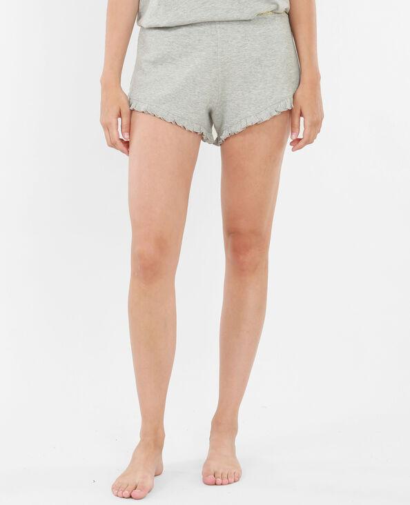Homewear-Shorts mit Rüsche Grau