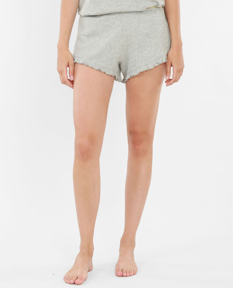 Short homewear con volant grigio chiné
