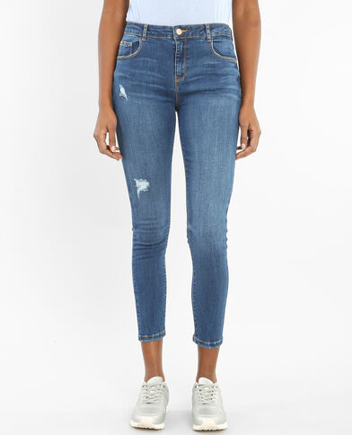 Skinny-Jeans mit hoher Taille Dunkelblau