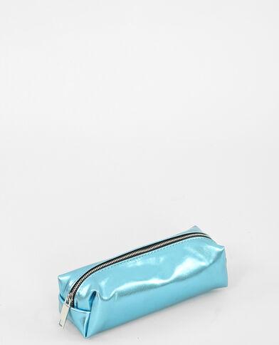 Trousse métallisée bleu aqua