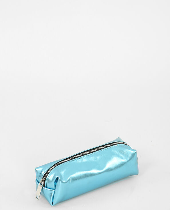Beutel im Metall-Look. Aquamarin
