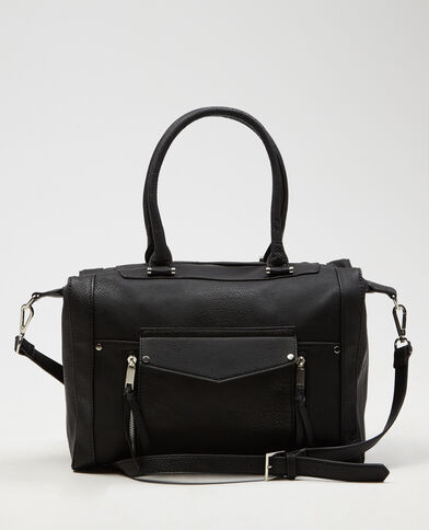 Borsa shopping con zip nero