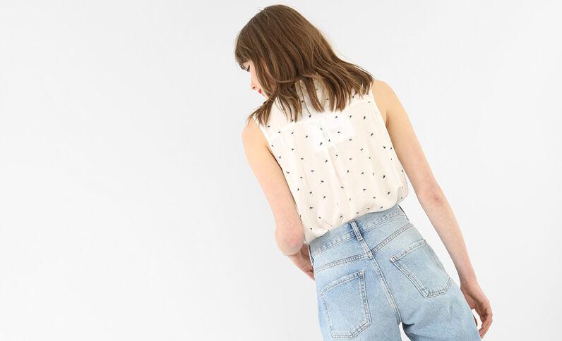 Bedrukte blouse zonder mouwen gebroken wit