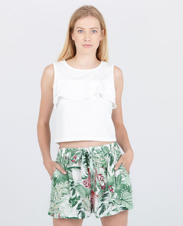 Top cropped con volant bianco sporco