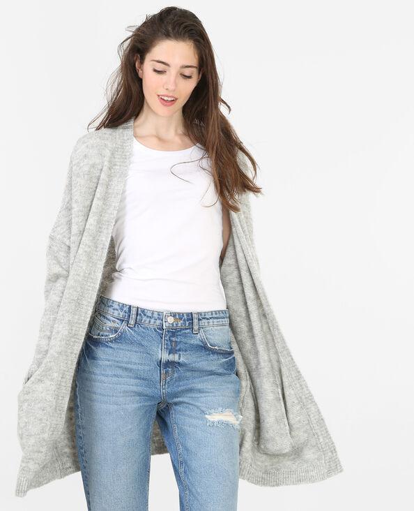Lange Strickjacke Grau meliert