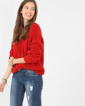 Grob gestrickter Pullover Rot