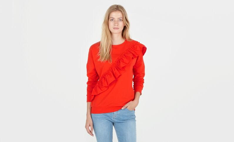 Sweatshirt mit Volants. Rot